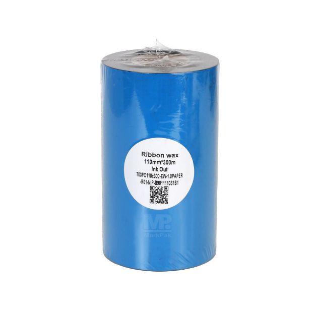 รูปของ ECO (Blue) Size 110mm X 300m F/O แกน 1 นิ้ว Wax Ribbon หมึกริบบอน
