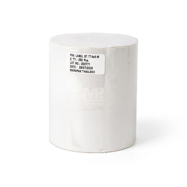 รูปของ ST.TT Size 4 x 6 inch (M)  250 ดวง/ม้วน แกน 1.5 นิ้ว สติ๊กเกอร์กระดาษ กึ่งมันกึ่งด้าน (ใช้ร่วมกับ Wax Ribbon หรือ Wax Resin Ribbon)