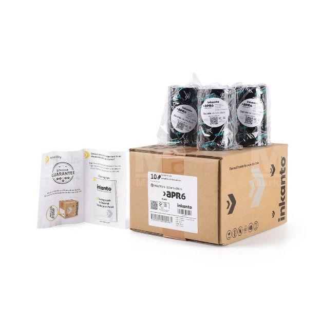รูปของ ยกกล่อง INKANTO APR6 Size 110mm X 300m F/O แกน 1 นิ้ว Wax Resin Ribbon หมึกริบบอน (PN: T42461IO) 10 ม้วน
